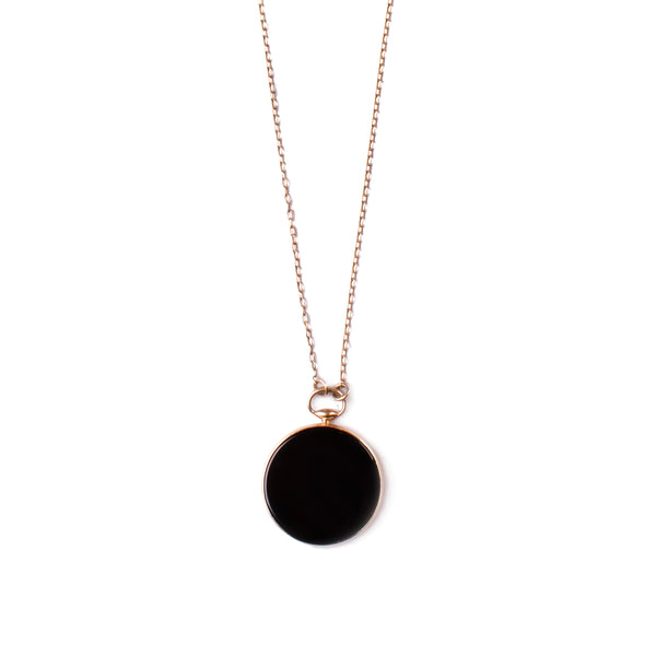 14k GOLD long necklace with big pendant onyx - Goldy jewelry store