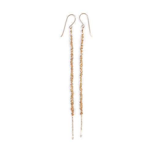 Goldfilled crochet long hanging earrings