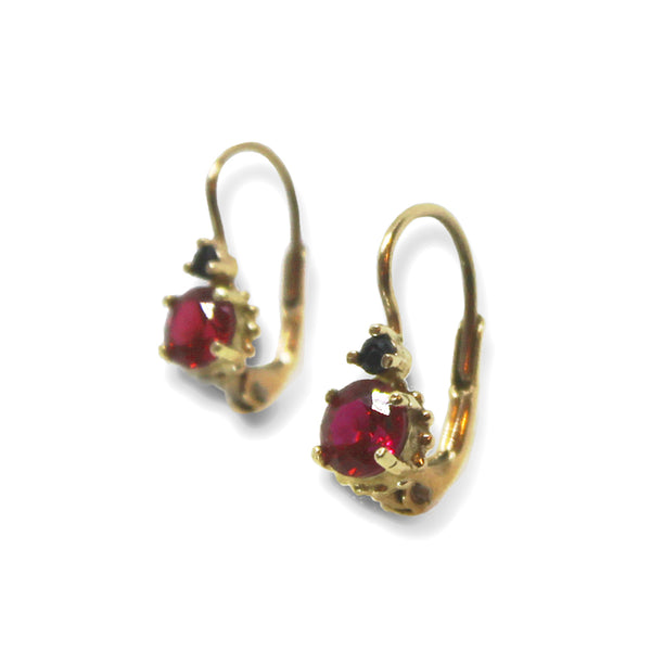 14k Gold Ruby & Onyx Earring - Goldy jewelry store