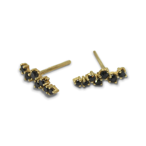 14k GOLD Black Diamond Stripe Earring - Goldy jewelry store