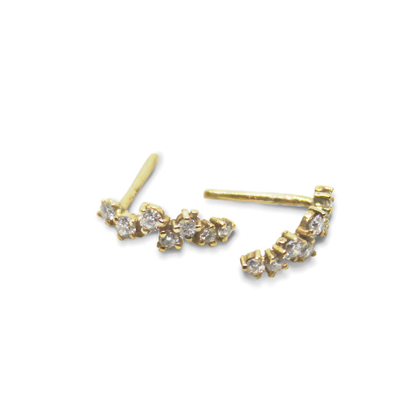 14K GOLD Diamond Stripe Earring - Goldy jewelry store