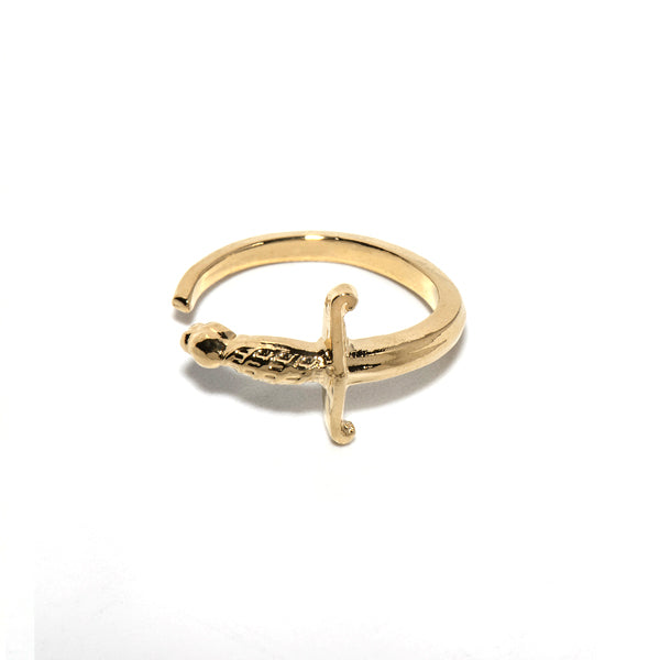 Sword gold plated ring