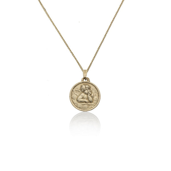 14K GOLD necklace with cupid coin - Goldy jewelry store