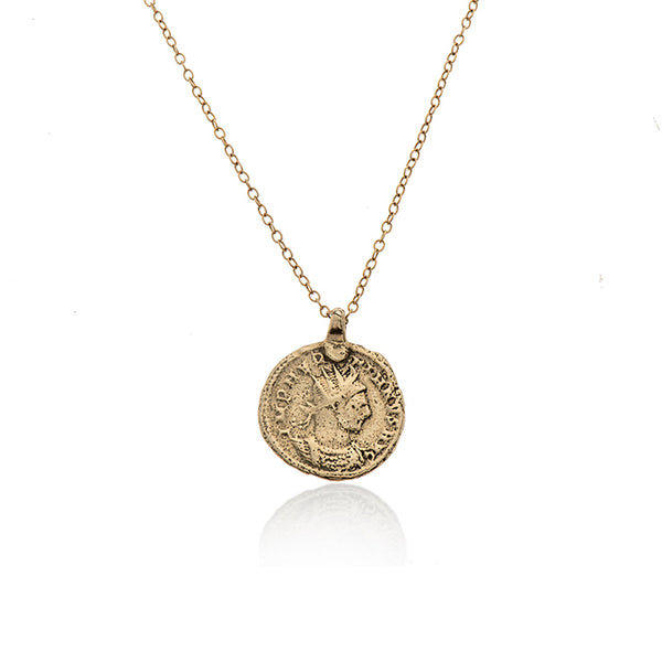 14k GOLD long necklace with large coin - Goldy jewelry store