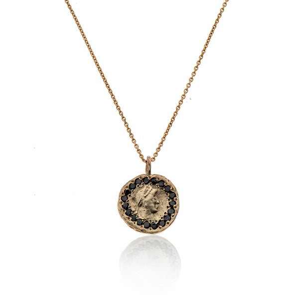 14k GOLD necklace with coin and black diamonds - Goldy jewelry store