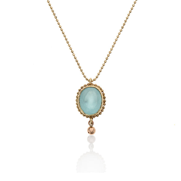 14k gold necklace with stone - Goldy jewelry store