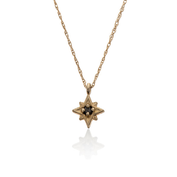 14k gold necklace with star and diamond - Goldy jewelry store