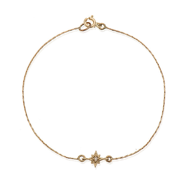 14K gold star with white diamond bracelet - Goldy jewelry store