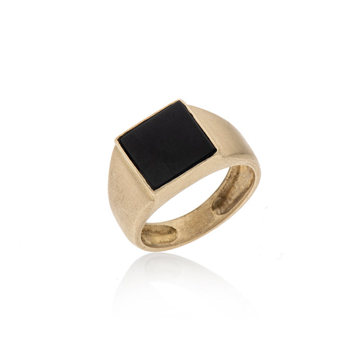 14K gold seal ring onyx - Goldy jewelry store