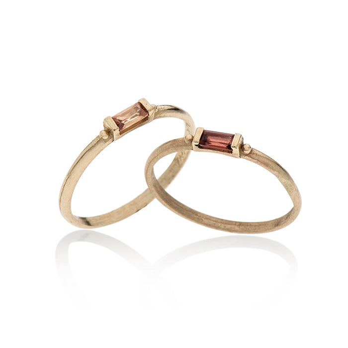 14K gold ring baguette with stone - Goldy jewelry store