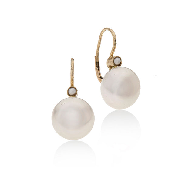 14k GOLD hanging earring with two Pearls-L - Goldy jewelry store