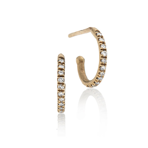 14k gold open hoop earrings white diamonds-L - Goldy jewelry store