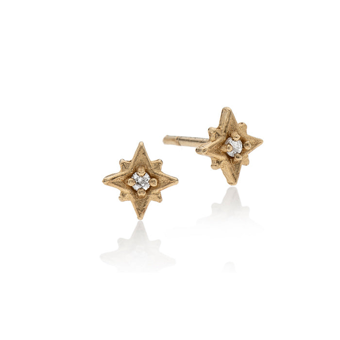 14k gold star with white diamond - Goldy jewelry store