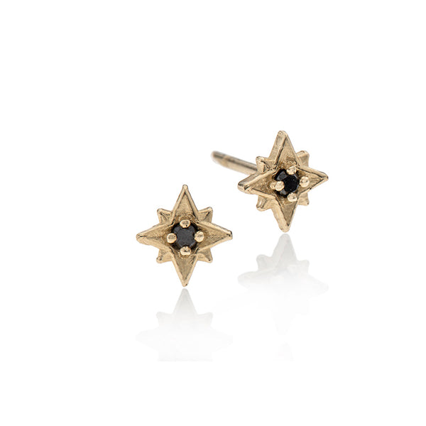 14k gold star with black diamond - Goldy jewelry store