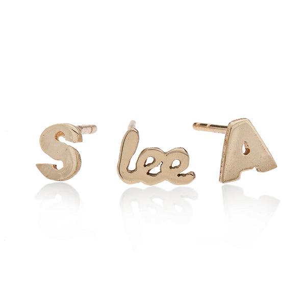 14k gold letter earrings - Goldy jewelry store