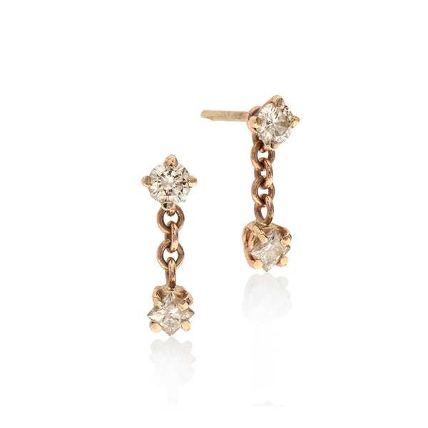 14k gold earring with white diamonds - Goldy jewelry store