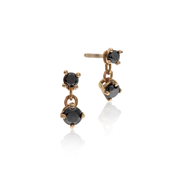 14k gold earring with black diamonds - Goldy jewelry store