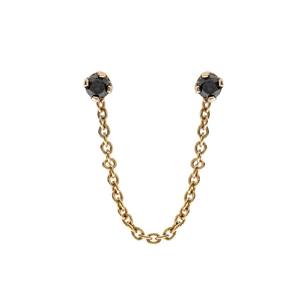 14k gold earring with 2 black diamonds - Goldy jewelry store