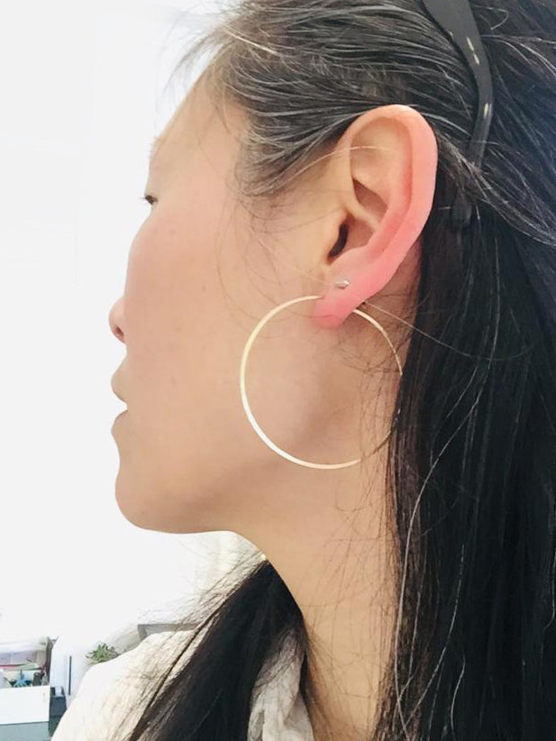 Silver big hoops earrings - Goldy jewelry store