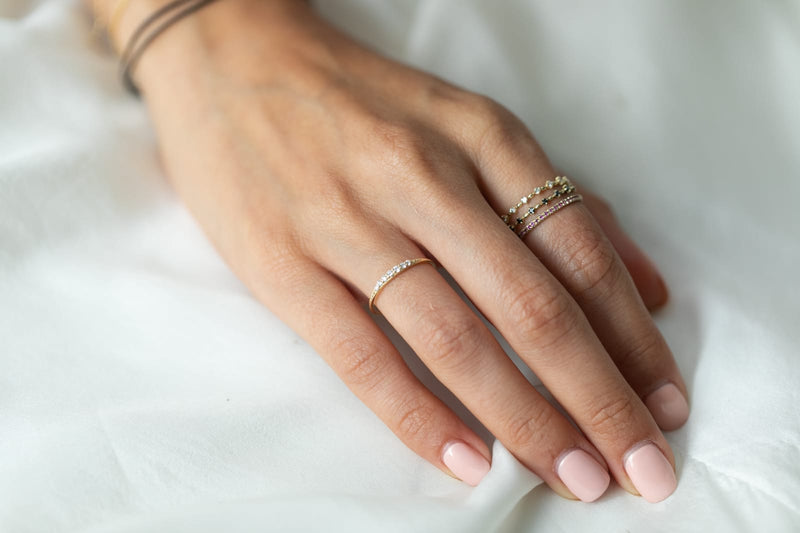 14k Gold thin ring with white diamonds