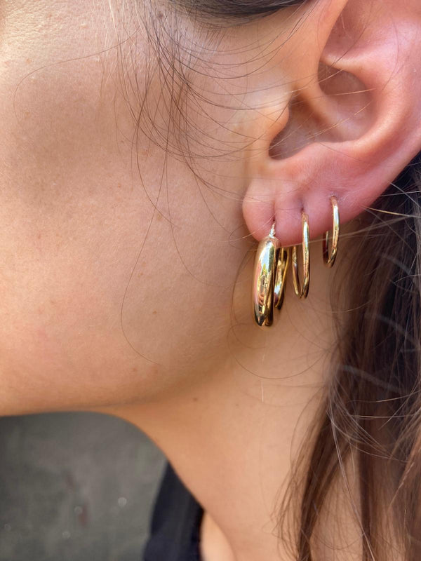 14k Gold Medium Hoops