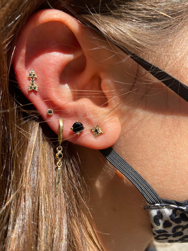 14k gold xs earrings with black diamonds