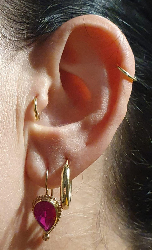 14K gold Fat Hoops-M