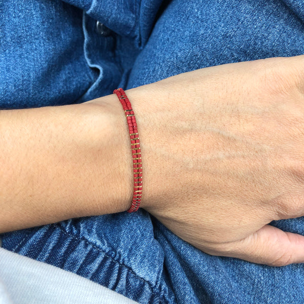 2 lines stripes red bracelet gold plated - Goldy jewelry store
