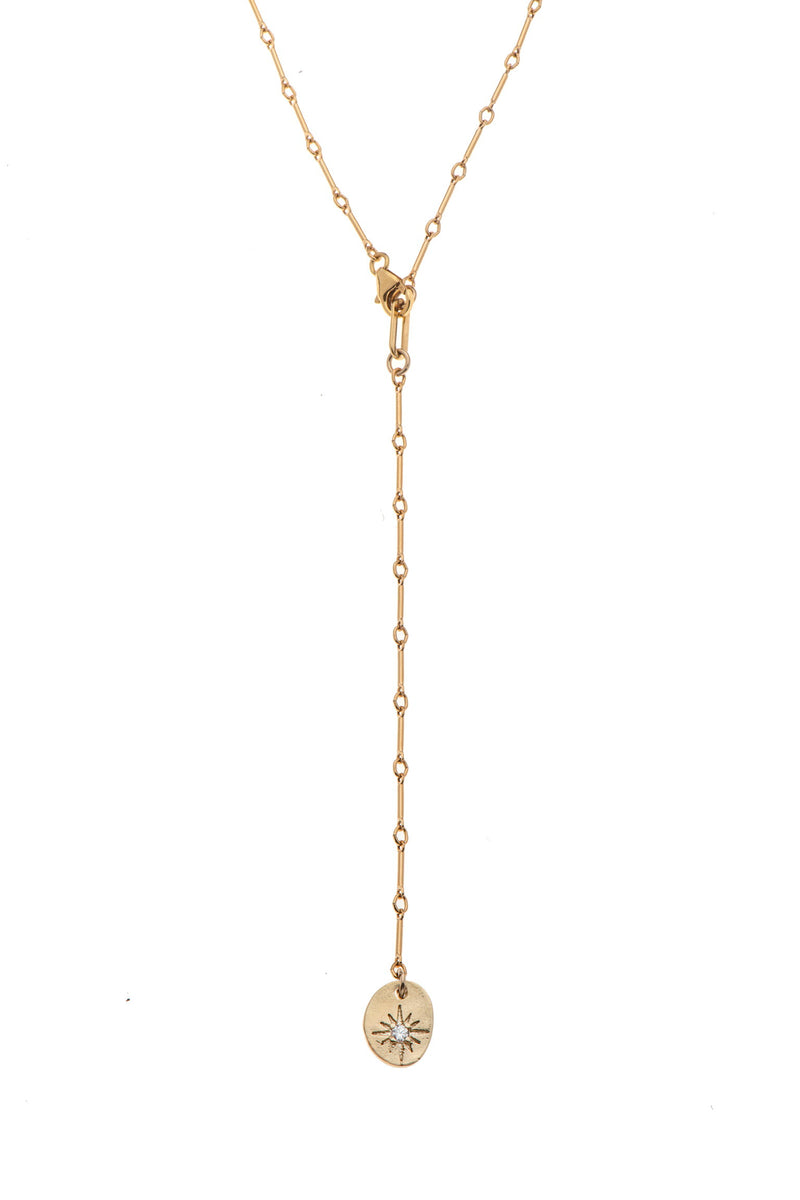 Long gold plated necklace with coin - Goldy jewelry store
