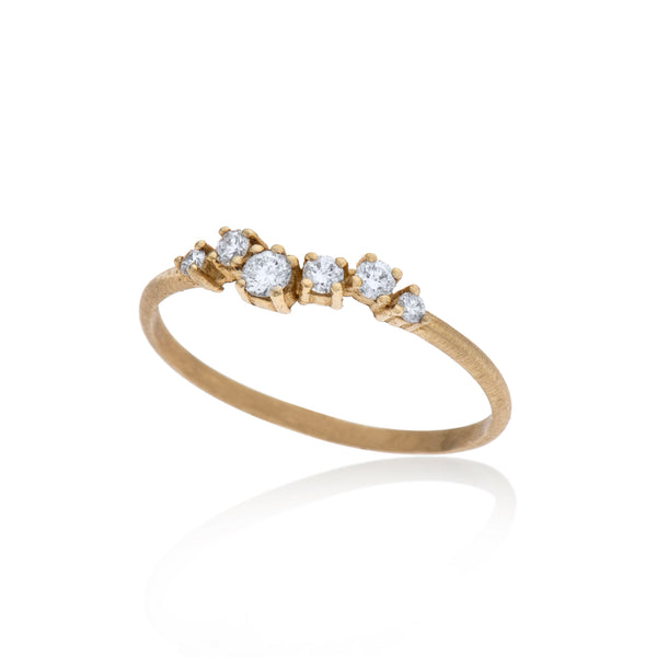 14K gold ring with 7 white diamonds - Goldy jewelry store
