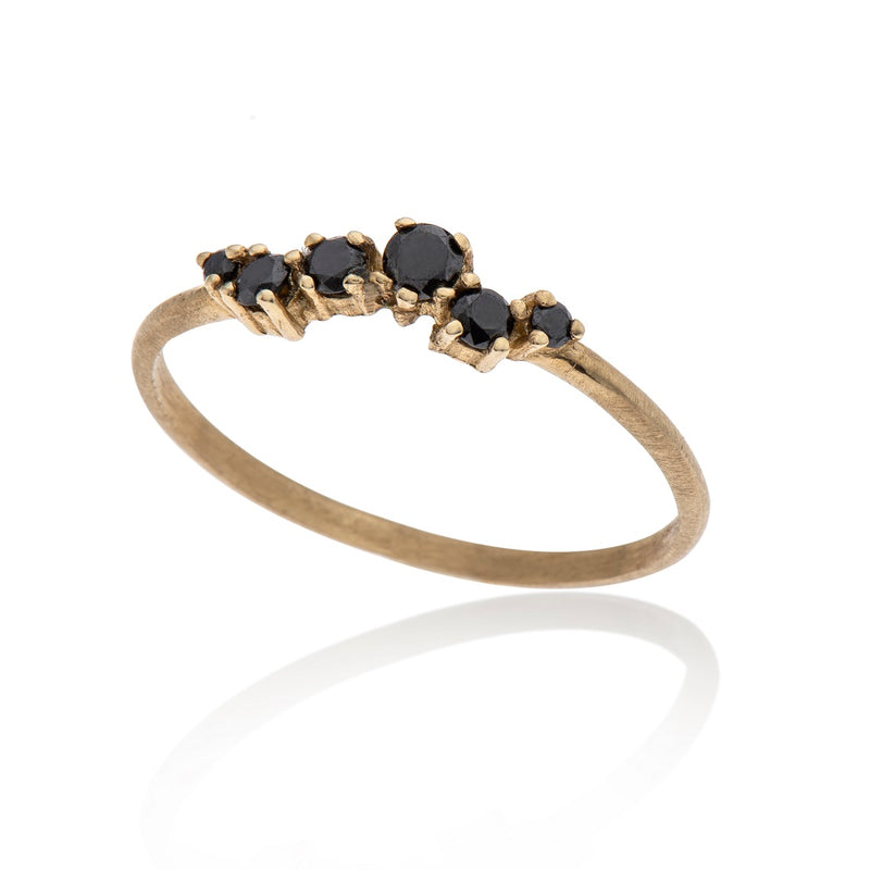 14K gold ring with 7 black diamonds - Goldy jewelry store