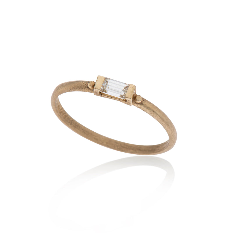 14K gold ring baguette white diamond - Goldy jewelry store