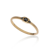 14K gold ring with 3 black diamonds - Goldy jewelry store