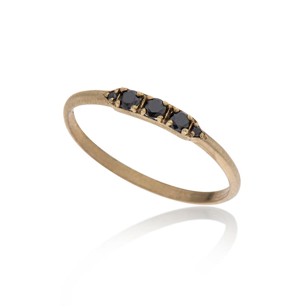 14K gold ring with 5 black diamonds - Goldy jewelry store