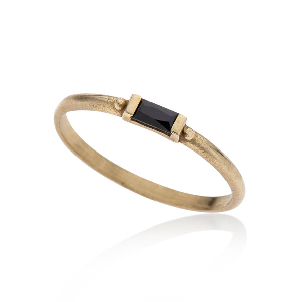 14K gold ring baguette black diamond - Goldy jewelry store