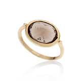14K gold oval ring with smokey topaz - Goldy jewelry store