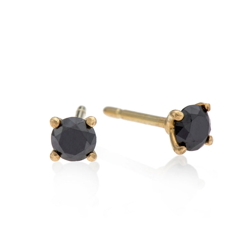 EF-14k gold earring with black diamond - Goldy jewelry store