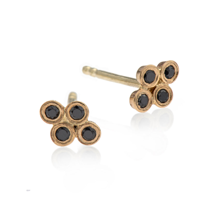 EF-14k gold earring with 4 black diamonds - Goldy jewelry store