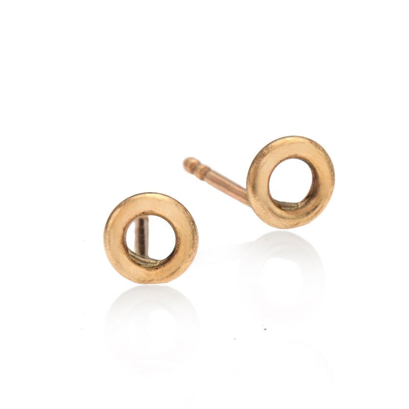 EF 14k gold hollow circle earrings - Goldy jewelry store
