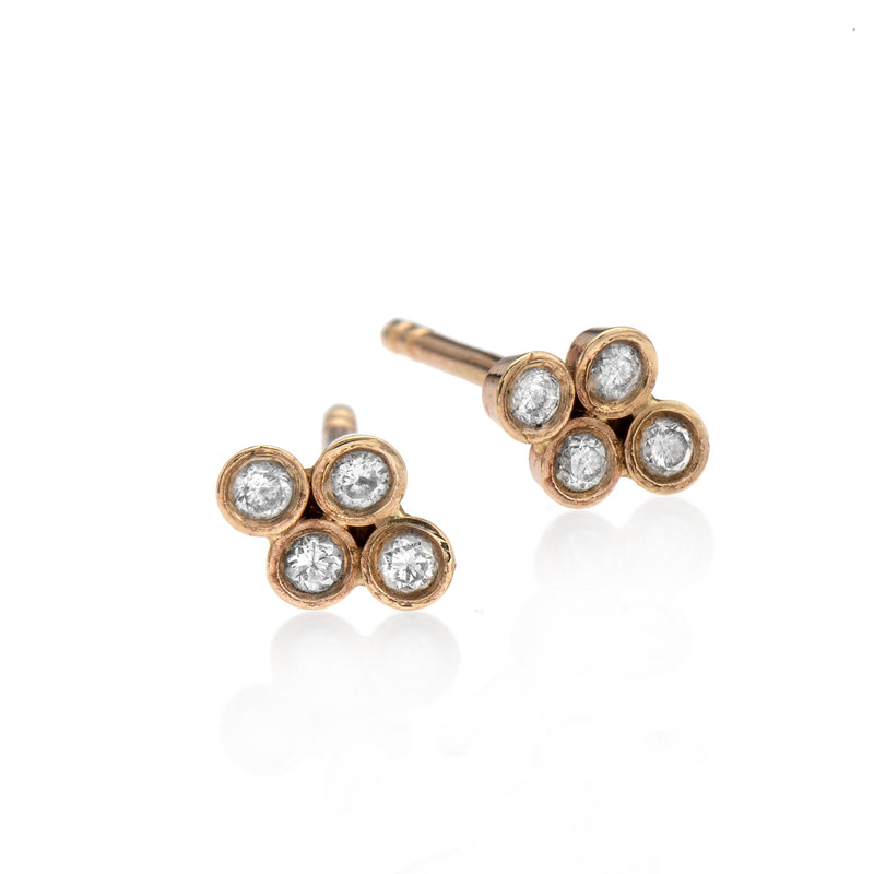 EF-14k gold earring with 4 white diamonds - Goldy jewelry store