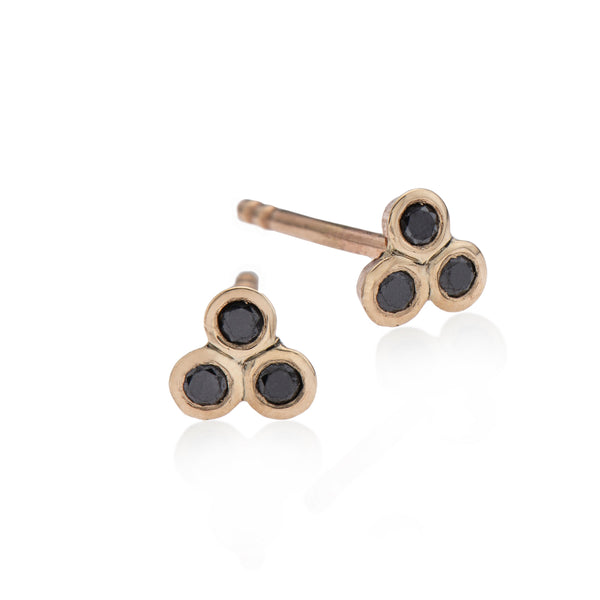 14k gold earring with 3 black diamonds - Goldy jewelry store