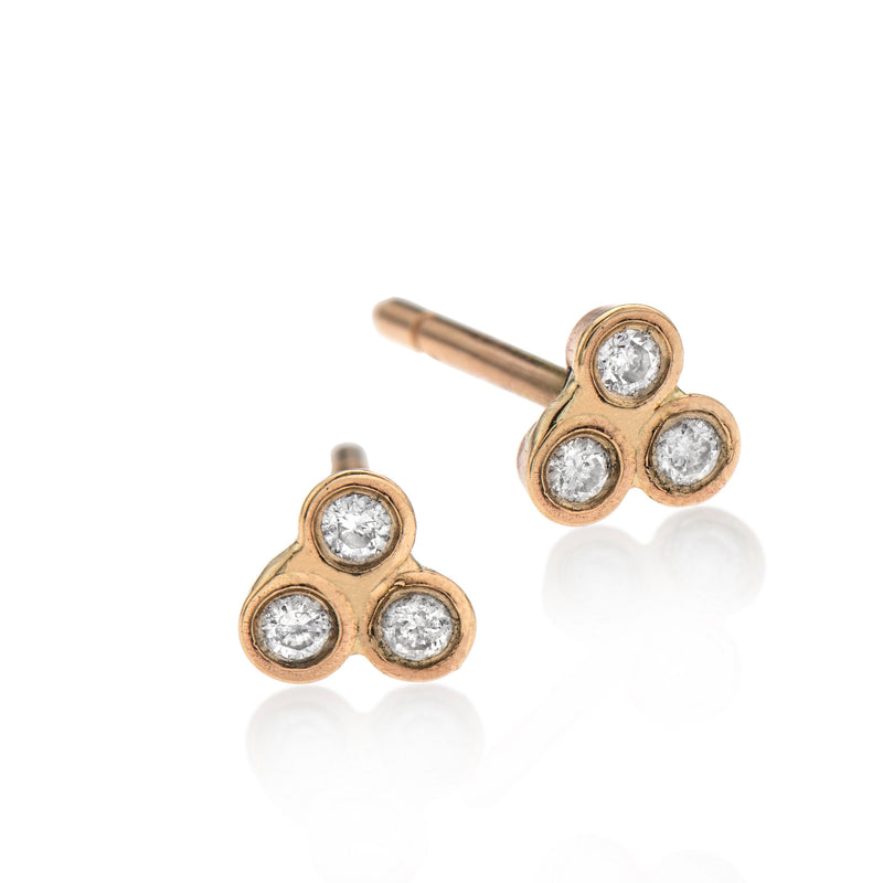 EF-14k gold earring with 3 white diamonds - Goldy jewelry store