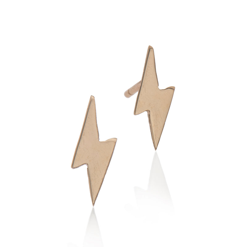 EF 14k gold lightning earrings - Goldy jewelry store