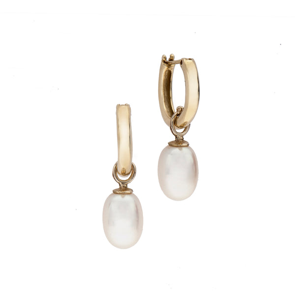 14K gold Hoops with pearl-big - Goldy jewelry store