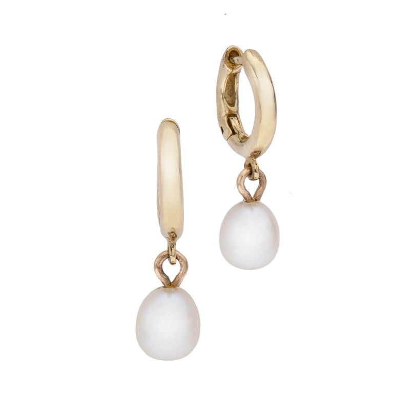 14k GOLD hoop earrings with pearl-medium - Goldy jewelry store