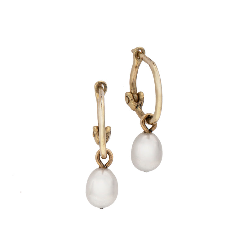 14k gold hanging pearl-small - Goldy jewelry store