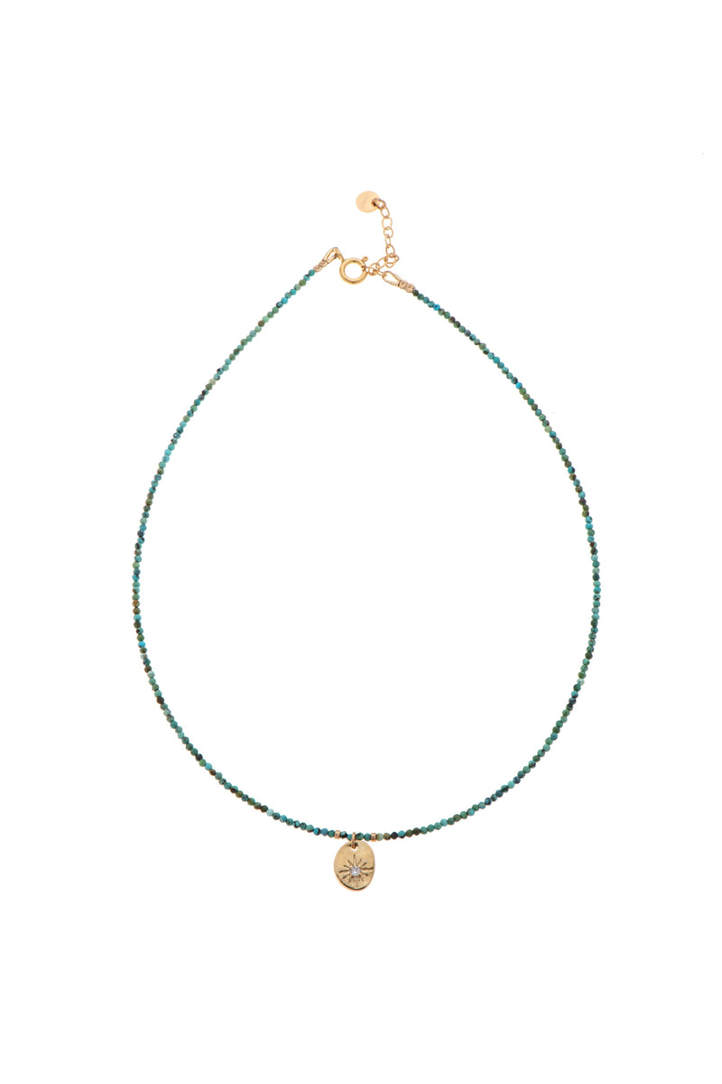 Turquoise Beads necklace with coin