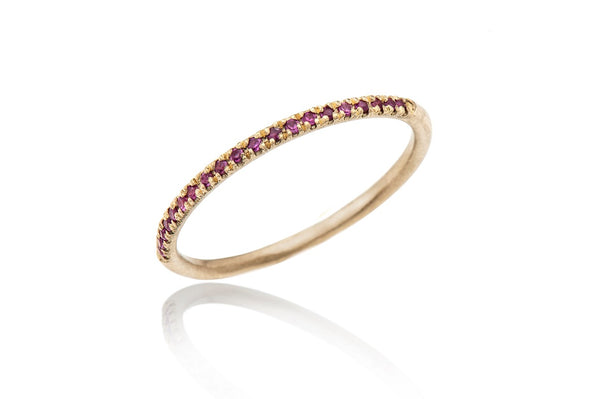 14k Gold thin ring with stones