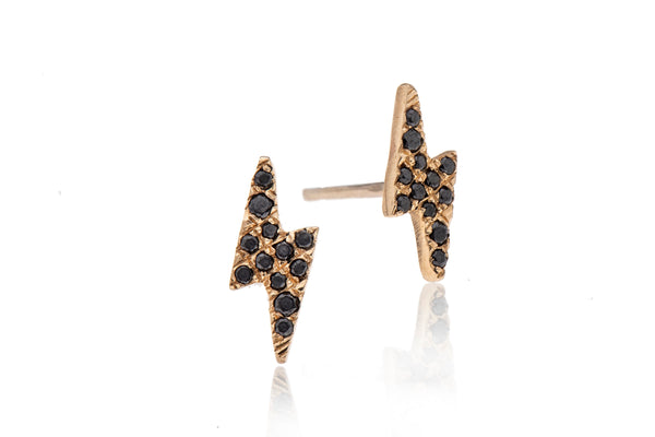 14k gold lightning earring with black diamonds