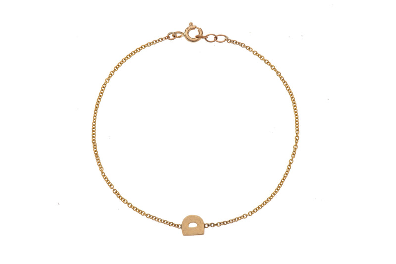 14K gold bracelet with a small letter